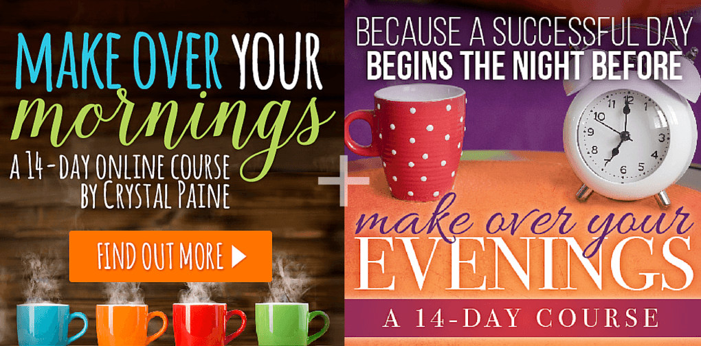 Mom is More is excited to be giving away Crystal Paine's Make Over Your Mornings AND Make Over Your Evenings courses in a bundle that'll equip you to get the most out of your day! Come check it out and enter to win!